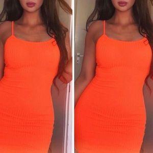 Neon Orange Bodycon Cami Dress
